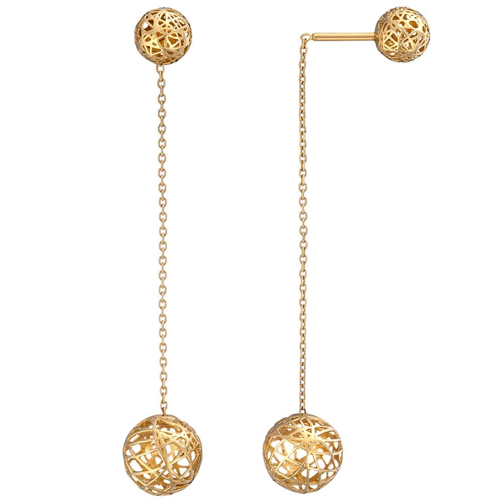 Длинные серьги Sova Merezhyvo из желтого золота с двумя шариками