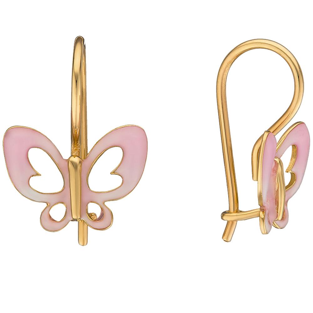 Серьги из желтого золота Sova Wonderland с бабочками нежно-розового цвета