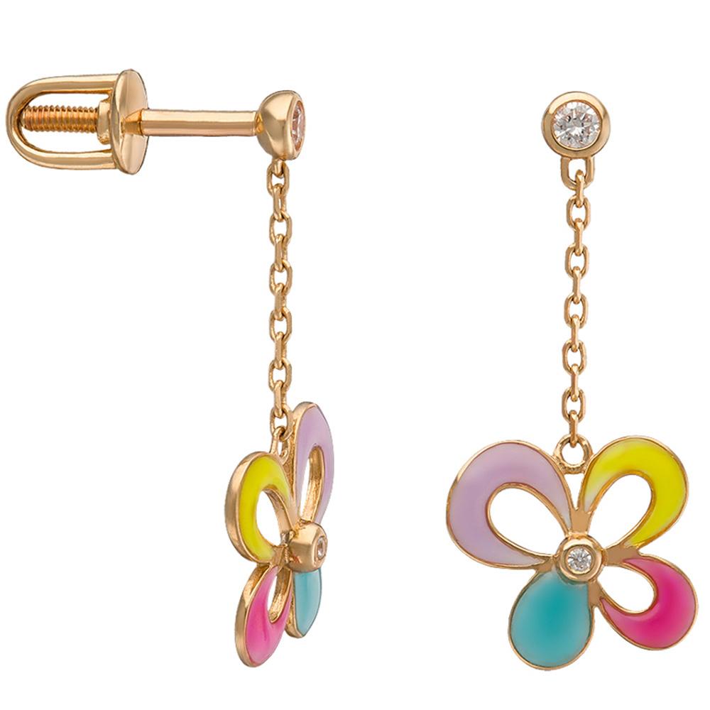 Серьги-цепочки из красного золота Sova Wonderland с фианитами и эмалью