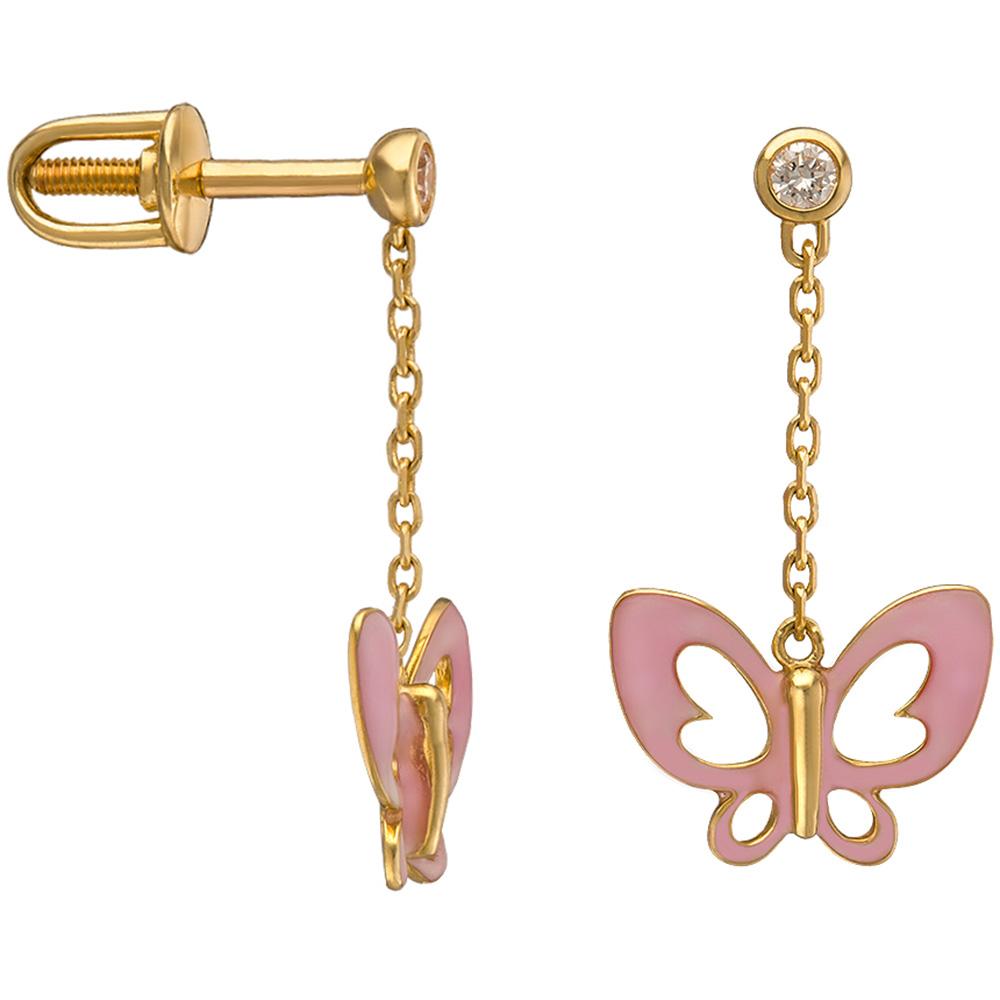 Серьги-цепочки из желтого золота Sova Wonderland с бабочками нежно-розового цвета