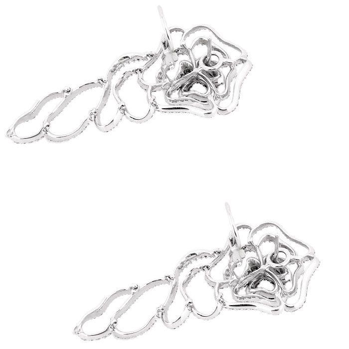 Крупные резные серьги Mario Panelli в форме цветков с белыми и черными бриллиантами