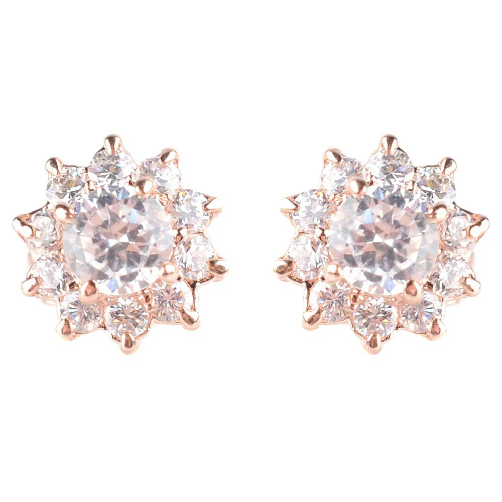 Серьги-гвоздики золотистые с переливающимися и сверкающими кристаллами