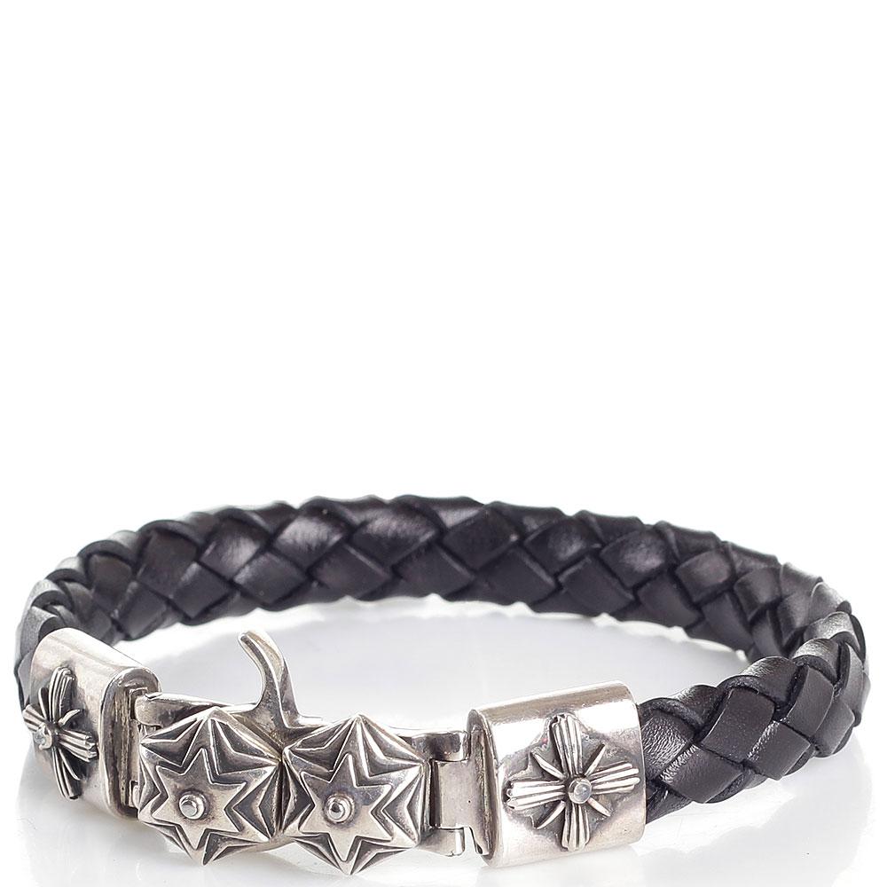 Плетеный кожаный браслет коричневого цвета ElfCraft с серебряными символами в виде шестиконечных звезд