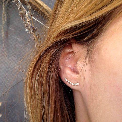 Серьги Aran Jewels с округлой линией из цирконов