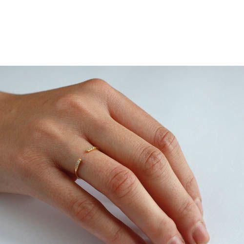 Кольцо Aran Jewels разомкнутое с позолотой и цирконами