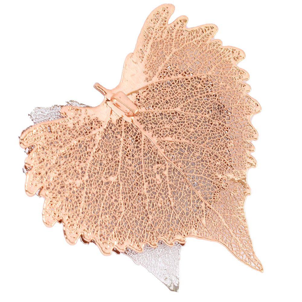 Подвеска Ester Bijoux с двумя листиками хлопка в розовом золоте и серебре