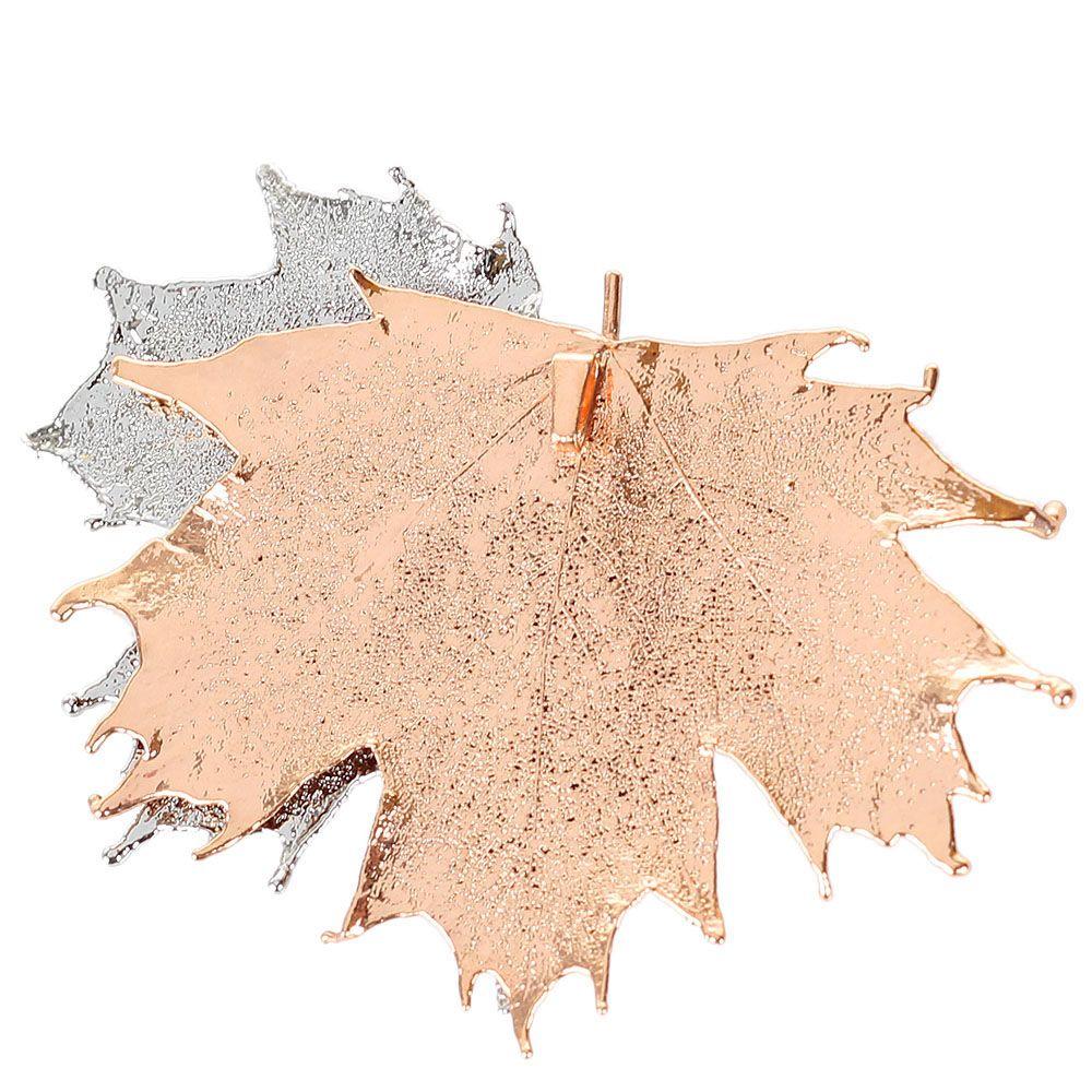 Подвеска Ester Bijoux с двумя листиками канадского клена в розовом золоте и серебре