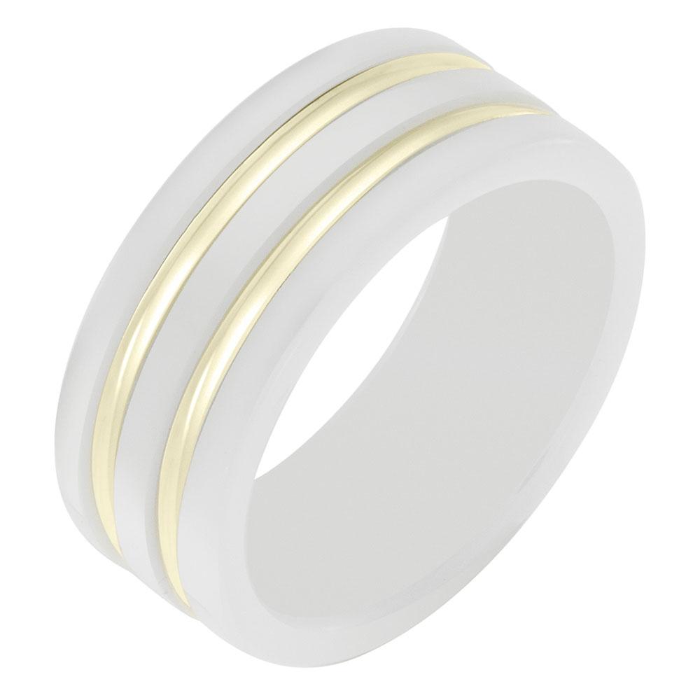 Кольцо Sova из желтого золота с эмалью белого цвета