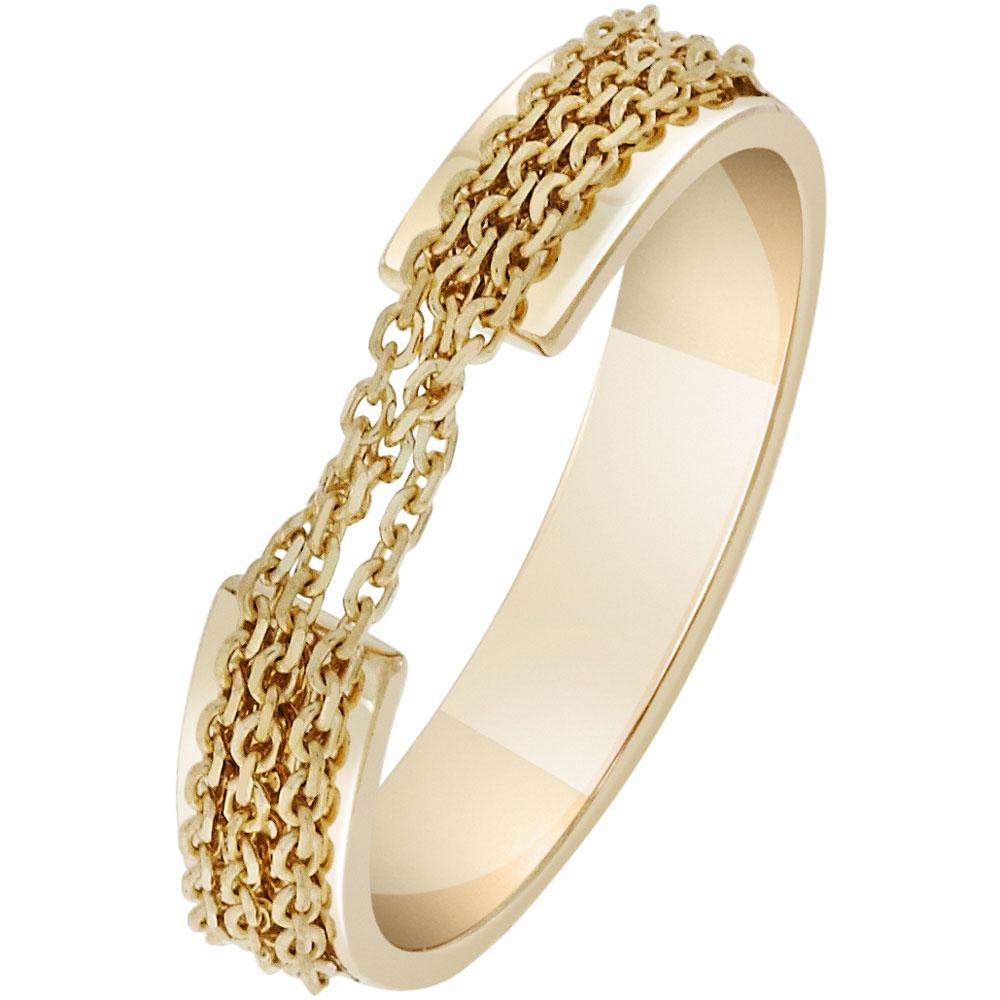 Кольцо SOVA из желтого золота с оригинальным декором из цепочек