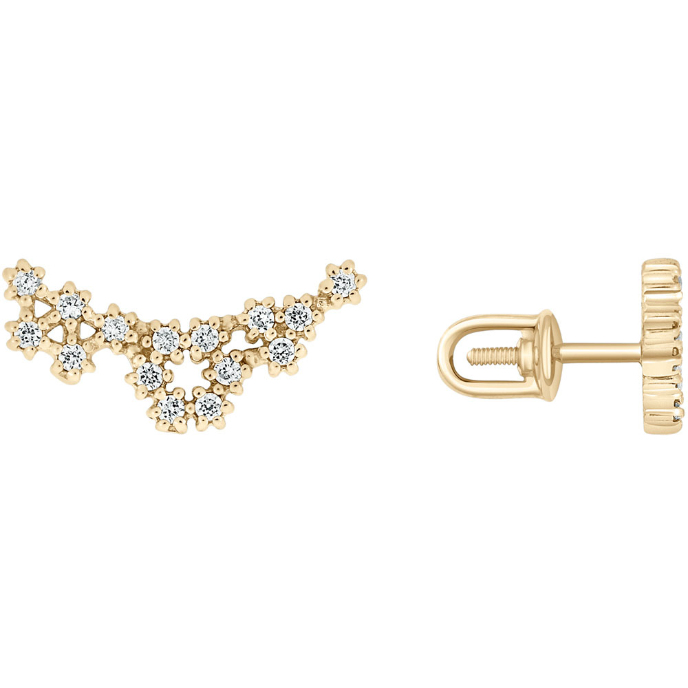 Золотые серьги-пусеты SOVA в виде цветочков с фианитами