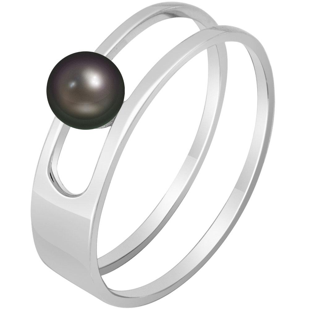Кольцо из белого золота SOVA с черной жемчужиной