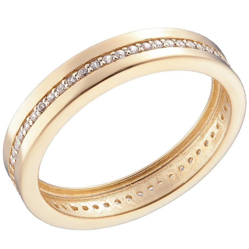 Кольцо желтого золота Sovissimo с дорожкой из фианитов 110209410301