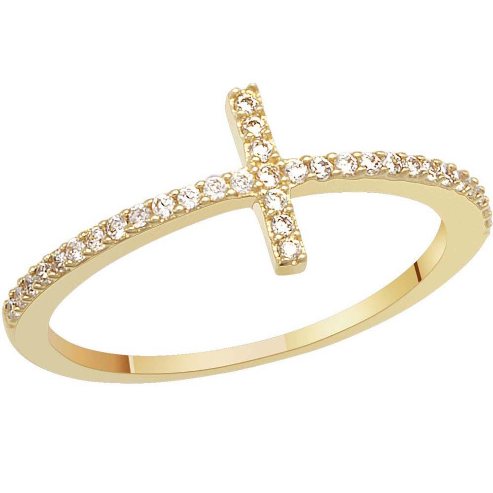 Кольцо с фианитами SOVA из желтого золота