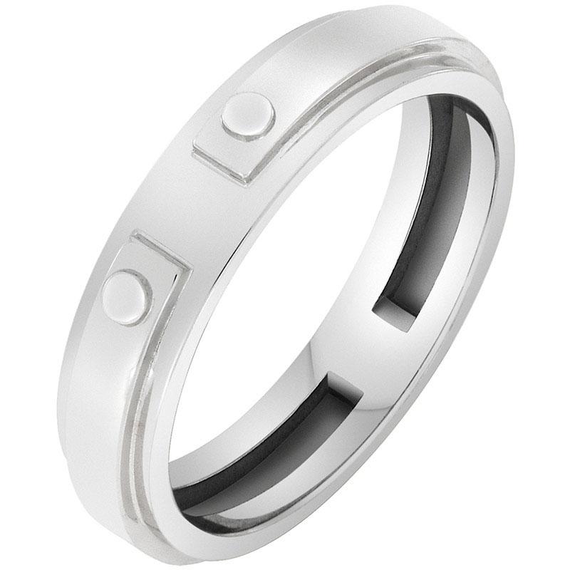 Кольцо Sova из белого золота с имитацией заклепок 100235410201