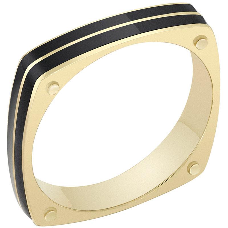 Кольцо Sova из желтого золота с эмалью 110221500301