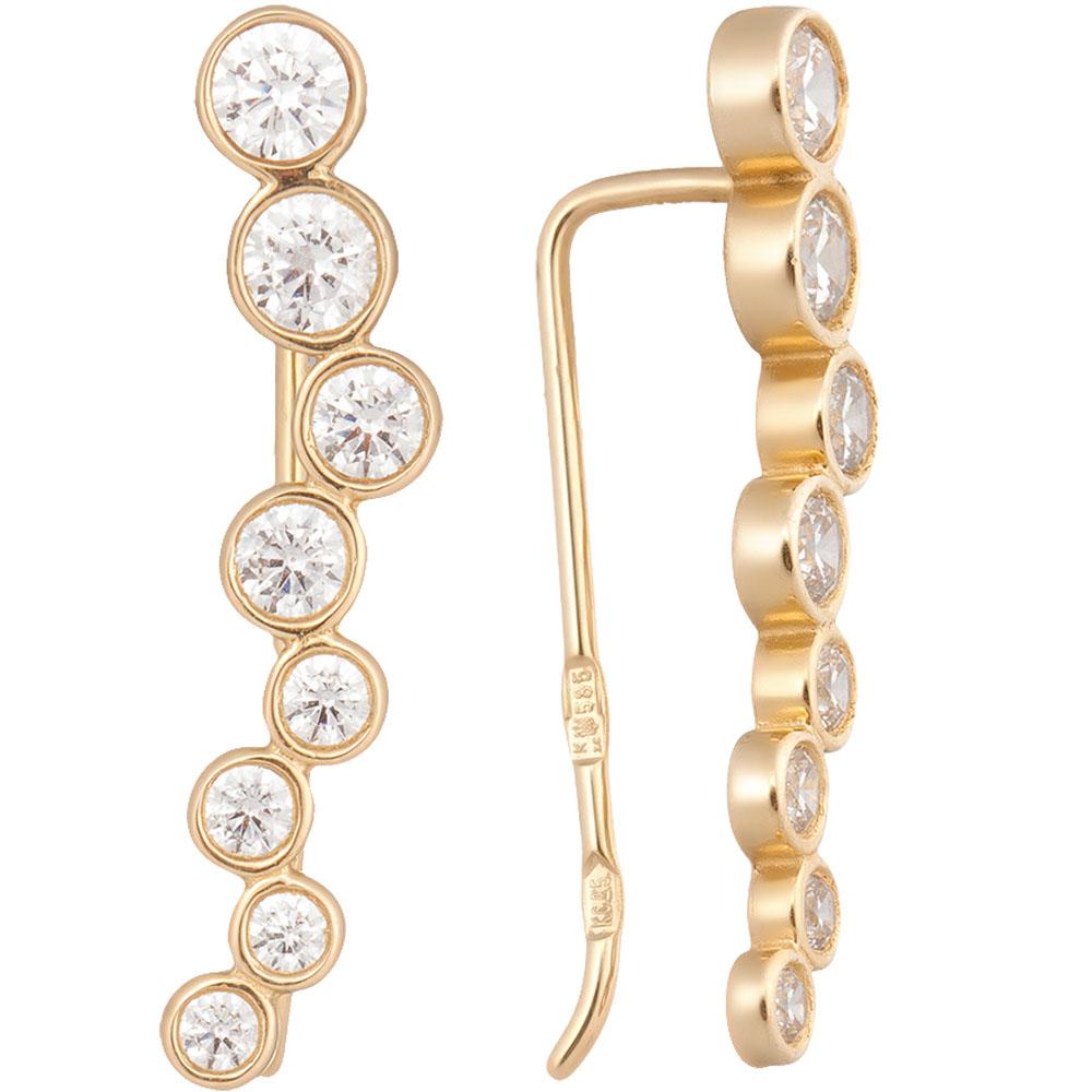 Серьги из желотого золота SOVA с фианитами
