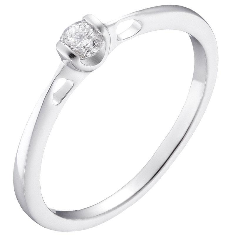 Кольцо из белого золота Sova с бриллиантом 110315120201