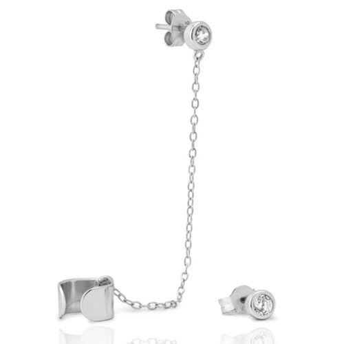 Серебряные серьги-каффы Aran Jewels с цирконами