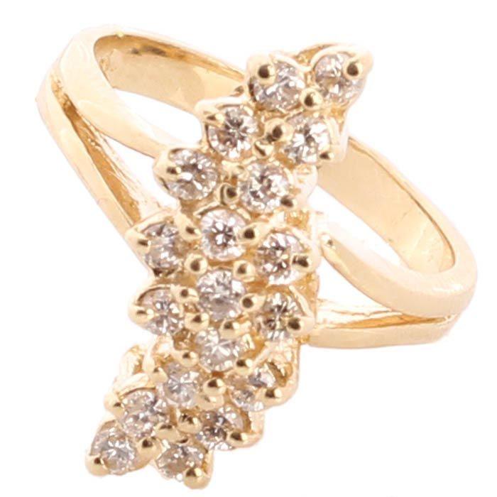 Колечко с бриллиантами в желтом золоте
