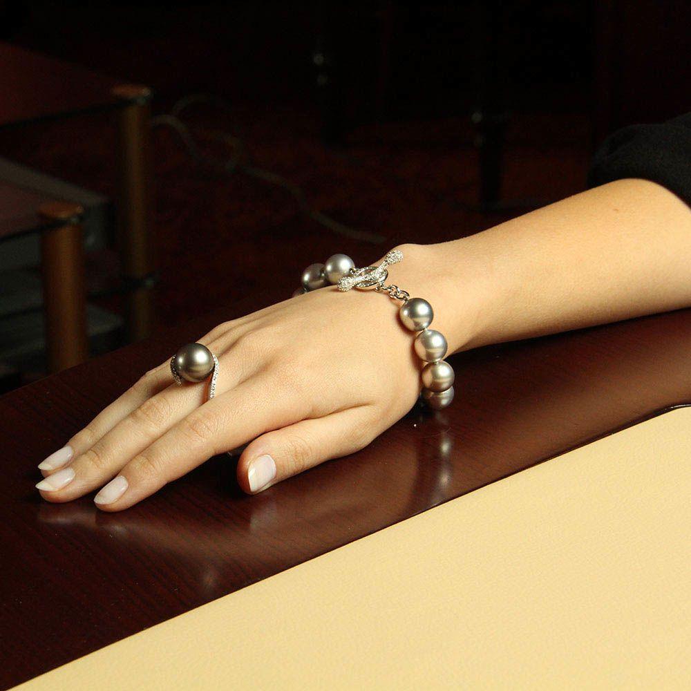 Браслет Gellner из белого золота с бриллиантами и Таитянским жемчугом