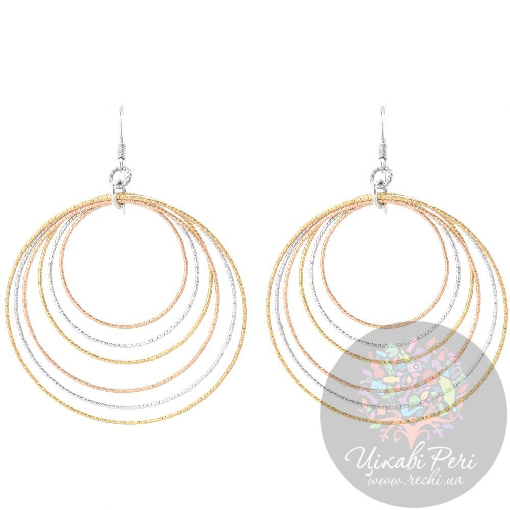 Серьги Misis с серебряными кольцами в розовой и желтой позолоте