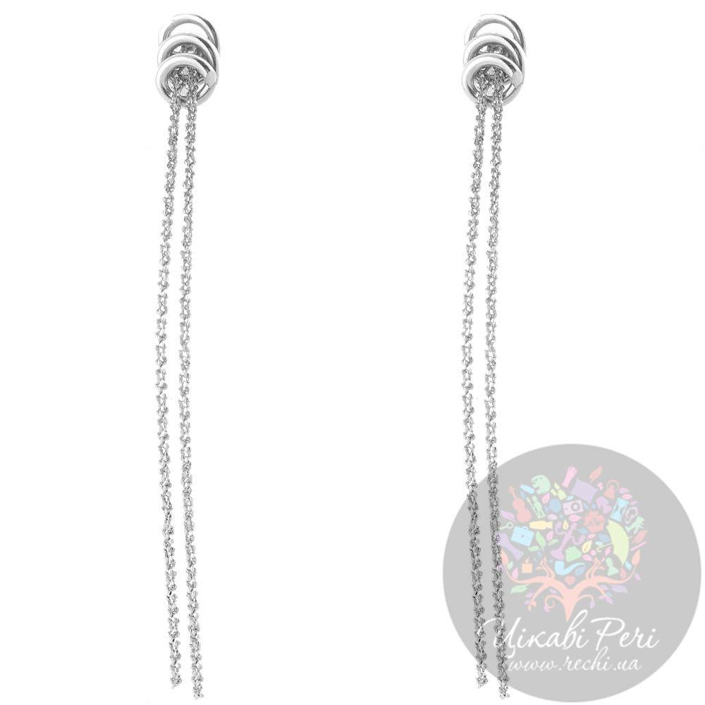 Серьги Misis серебряные с двумя свисающими цепочками