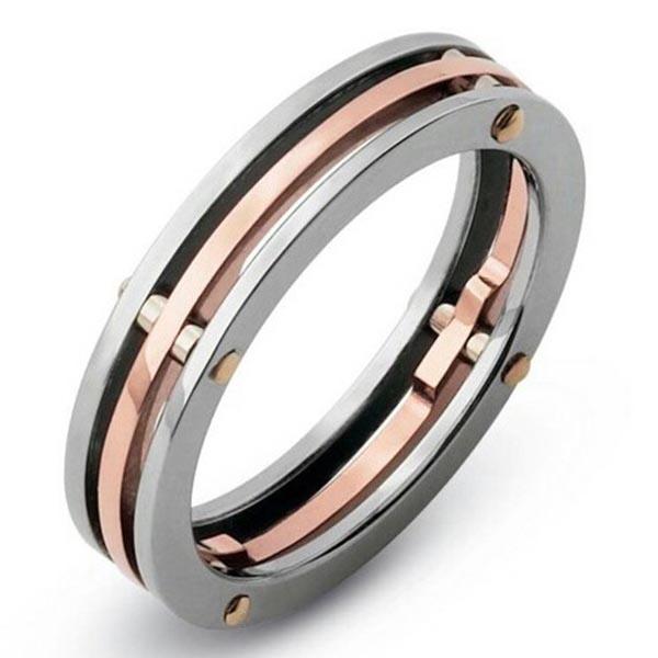 Кольцо Baraka Supernova из розового золота в сочетании с нержавеющей сталью