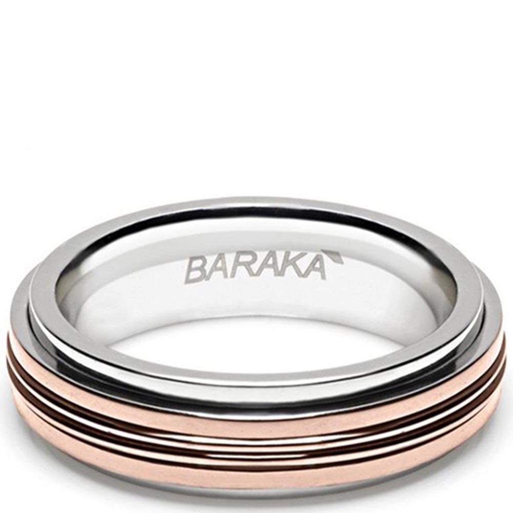 Мужское кольцо Baraka из розового золота и нержавеющей стали