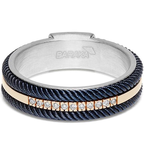 Кольцо Baraka 316L из серебра и стали синего цвета