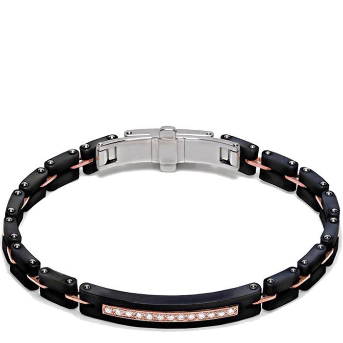 Мужской черный браслет Baraka Mosaiko с бриллиантами белого цвета