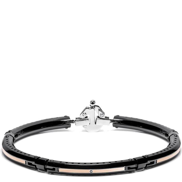 Черный тонкий браслет Baraka Discovery с белым бриллиантом по центру