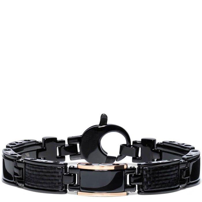 Мужской браслет Baraka Black-one из нержавеющей стали с элементами розового золота