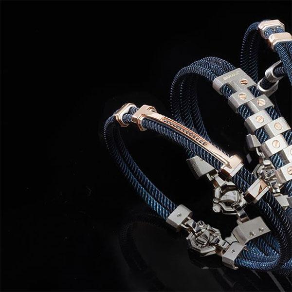 Мужской браслет Baraka 316L с черными бриллиантами