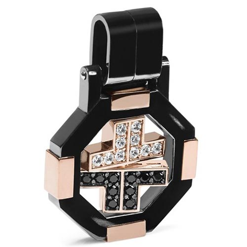 Стилизованный мужской крест Baraka из розового золота с белыми и черными бриллиантам CI271251RODD