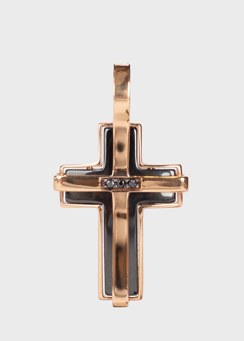 Крестик-подвес Baraka с бриллиантами черного цвета