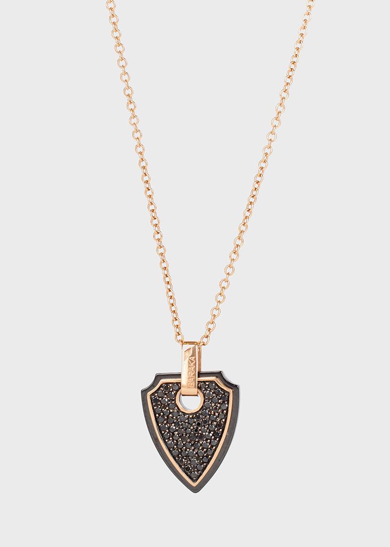 Подвеска Baraka из розового золота и черной керамики с черными бриллиантами