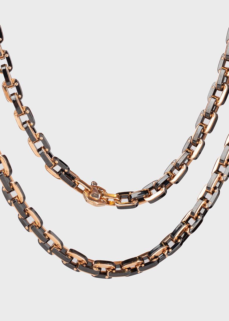Мужская цепочка Baraka из керамики и розового золота с бриллиантом