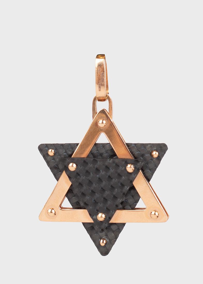 Золотая подвеска Baraka в виде звезды Давида из карбона