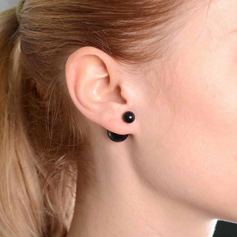 Асимметричные серьги-гвоздики черные глянцевые позолоченные