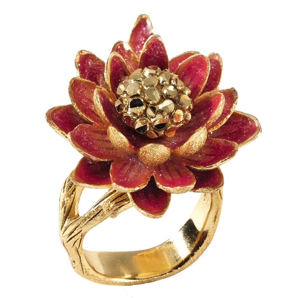 Позолоченное кольцо Misis Geisha с цветком