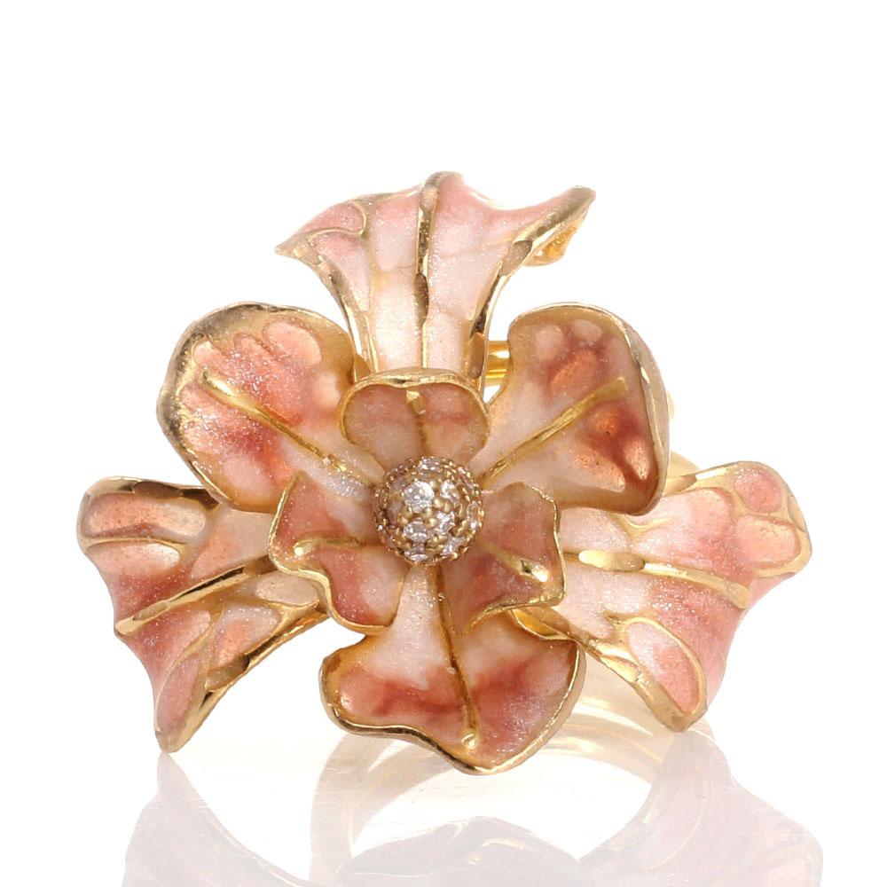 Двойное кольцо Misis Gemina с крупным цветком ириса