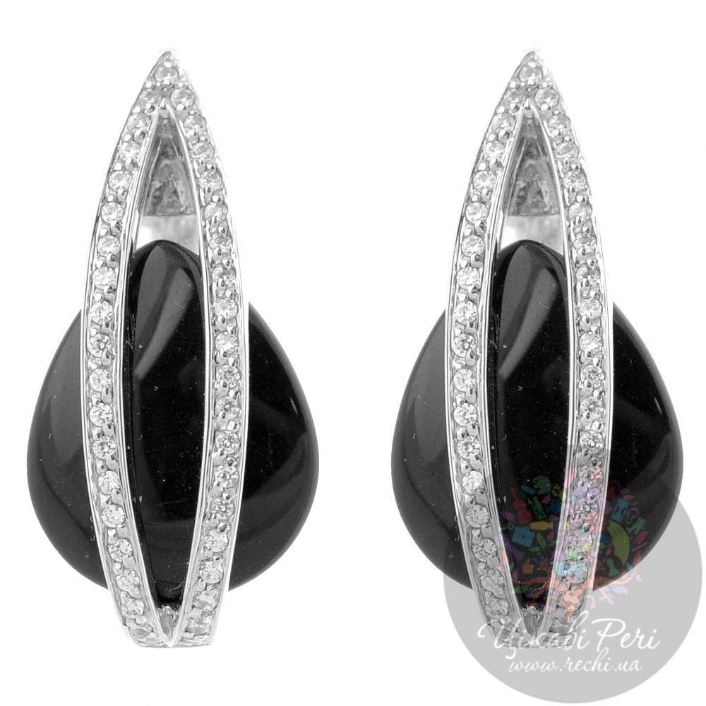 Серебряные серьги Viventy с ониксом и цирконами