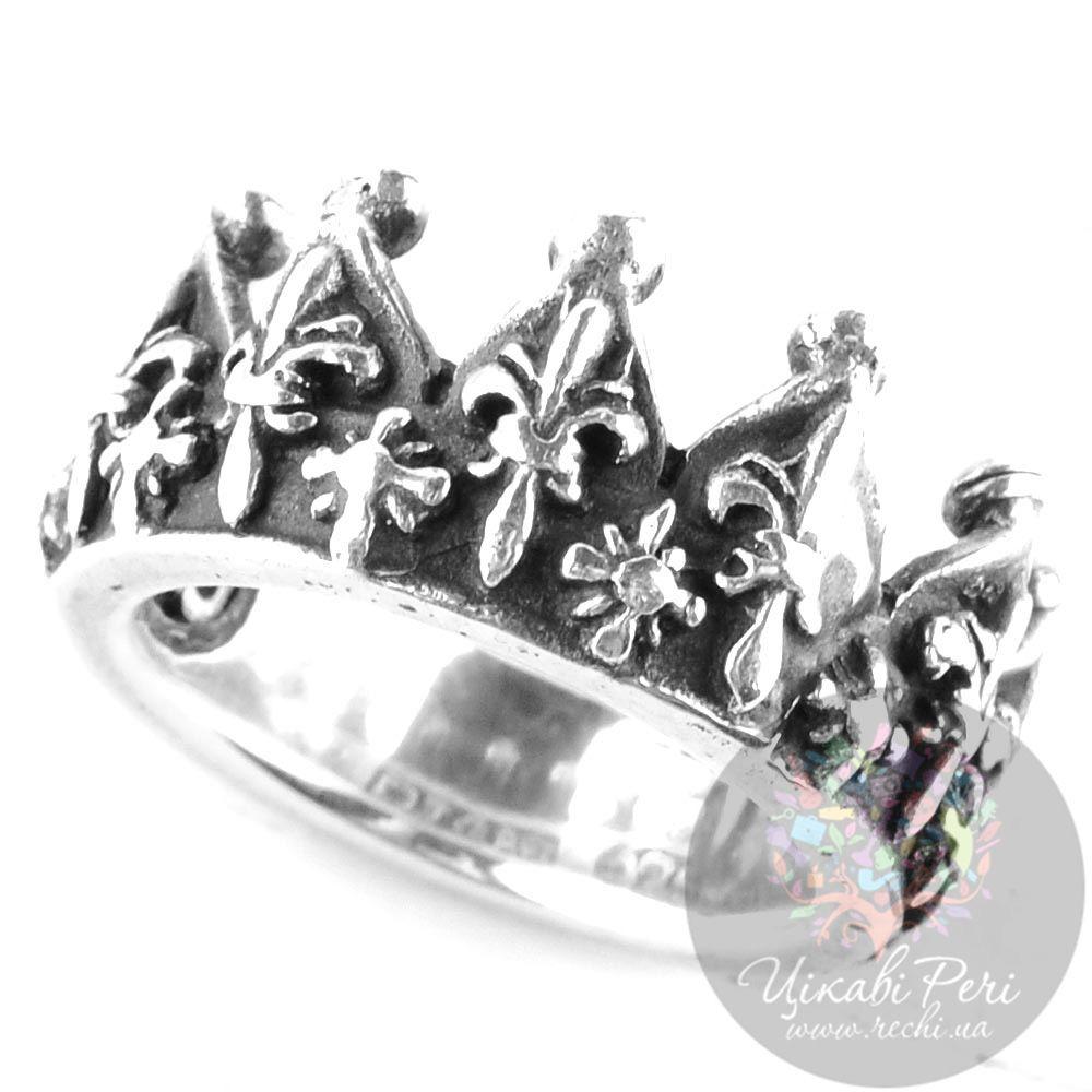 Серебряное кольцо-корона ElfCraft с рельефными французскими лилиями