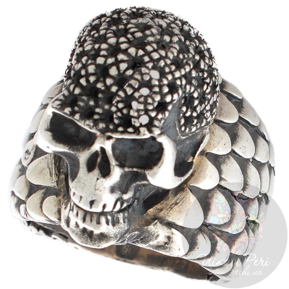 Серебряный перстень ElfCraft с чешуйками и черепом