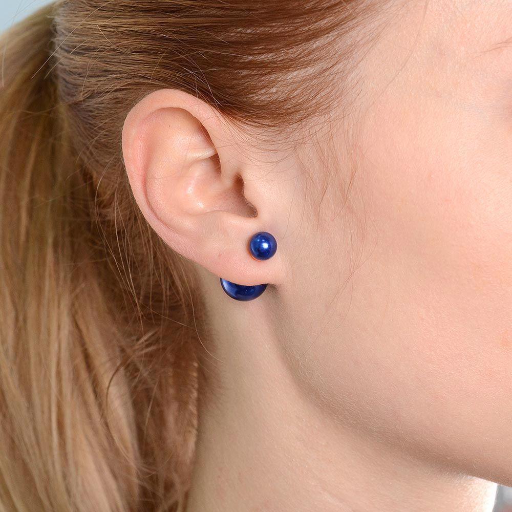 Асимметричные серьги-гвоздики синие можно носить тремя способами