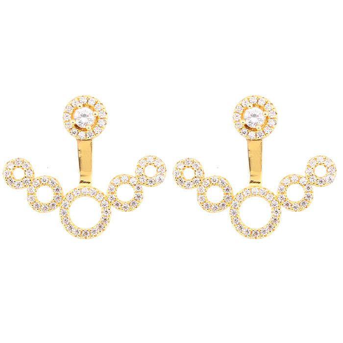 Серьги Alibi золотистые с кругами инкрустированными цирконами