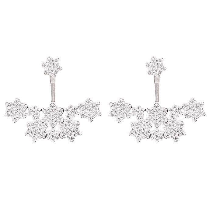 Серьги Alibi серебряные украшенные звездочками с цирконами