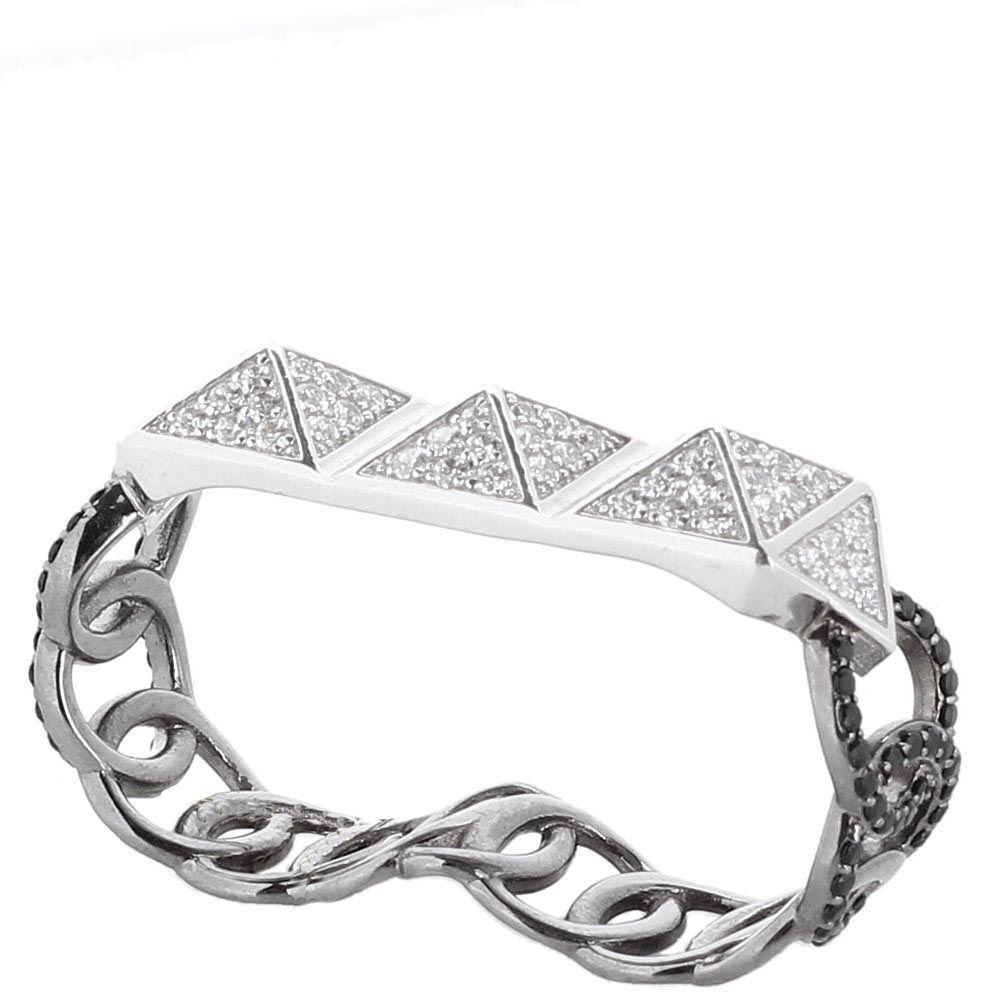 Серебряный браслет покрытый родием APM Monaco с деталями в форме пирамид с цирконами