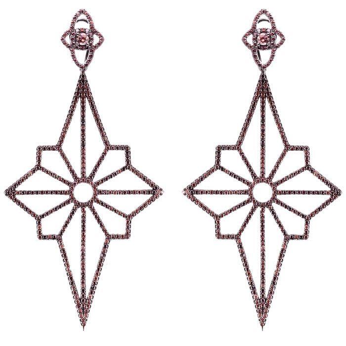 Серьги Alibi черного цвета в виде звезд с цирконами цвета шампань