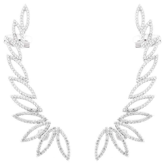 Серьги-каффы Alibi серебристые с листочками украшеными цирконами